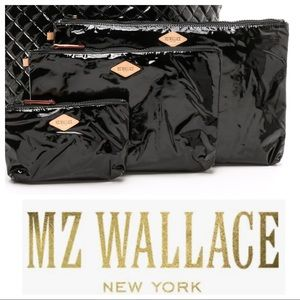 "MZ Wallace 8""x12"" black patent zip clutch bag"